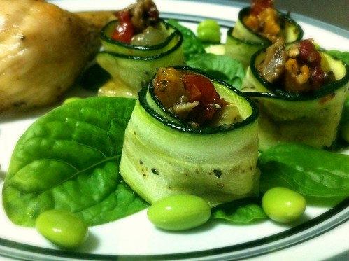 Roast Chook & Antipasto-Stuffed Zucchini by mjd-s