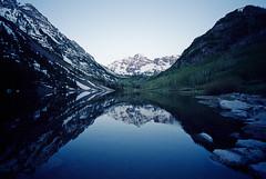 Maroon Lake - Aspen, CO (Justin Goode) Tags: county leica mountain lake snow reflection film bells colorado kodak maroon voigtlander co aspen 160vc portra m2 15mm cv yummm heliar pitkin