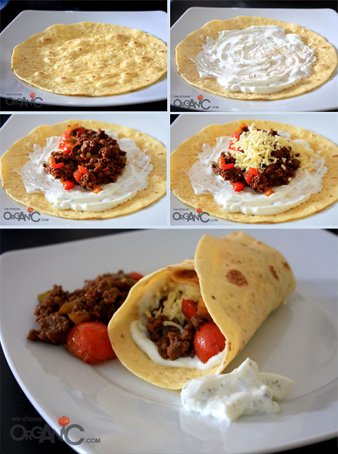 beef burritos with tomatoes and peppers