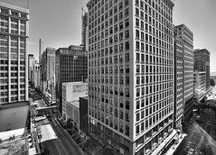 (Kevin Dickert) Tags: city urban blackandwhite bw chicago skyline architecture buildings downtown cityscape skyscrapers loop towers canyon canon5d trumptower hdr highdynamicrange highrises density urbanity canonef1740mmf4l abovestreetlevel statejackson iamhydrogen kevindickert