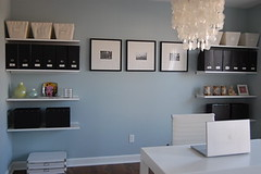[Real Homes] Blue + brown organized office: Storage solutions + Parsons desk + Benjamin Moore 'Smoke' (xJavierx) Tags: blue inspiration modern design diy paint desk interior storage chandelier decorating decor parsons blueroom organized bluegray bluepaint benjaminmoore brownandblue paintcolors blueandbrown paintideas floatingshelves blueoffice blueinterior