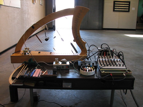 Amplfied Wire Strung Harp with Preperations and simple electronics