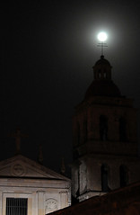 Moon parked at a church (Armando Maynez) Tags: voyage travel vacation moon church noche morelia cathedral catedral luna traveling armando michoacan vacaciones challengeyouwinner cywinner myfacebook maynez