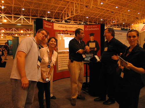 Cheezhead, Intern Queen, Steven Rothberg, Paul and Erin at CollegeRecruiter.com's booth