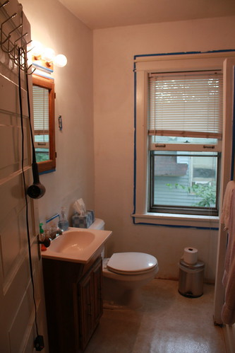 Looking in to the bathroom