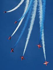 Splendid contrast (patman 01) Tags: blue red england canon aircraft arrows redarrows cowesweek eos400d cowesweek2009