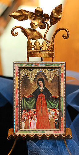 "Print of painting, ""Mother of Mercy"", made in France, from the collection of the Marianum, photographed at the Cathedral of Saint Peter, in Belleville, Illinois, USA"