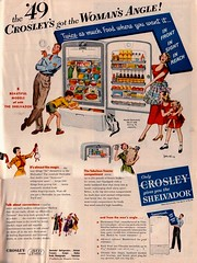 Crosley Shelvador Ad (saltycotton) Tags: family rabbit kitchen cat vintage magazine children doll father ad daughter mother husband son cigar advertisement 1940s wife refrigerator freezer housewife 1949 appliances magician crosley betterhomesandgardens