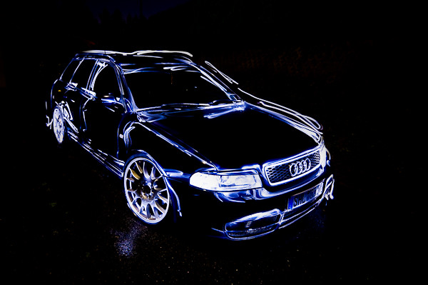 blue light art night germany painting long exposure automotive thuringia led audi s4 albrechts mywinners lightled