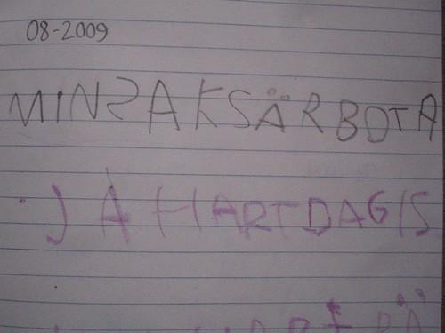 Antheas första skrivbok.