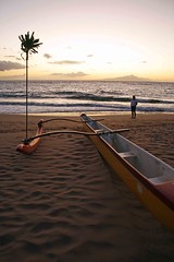 Outrigger at Sunset (J K Johnson) Tags: ocean trip travel sunset sea vacation usa beach beautiful america island hawaii boat us interesting sand paradise unitedstates pacific exploring unitedstatesofamerica maui american hawaiian outrigger jimjohnson jkjohnson