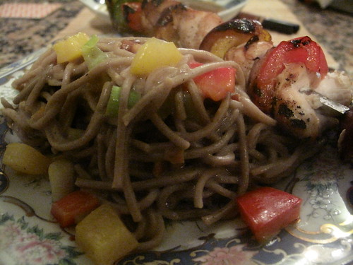 Warm soba salad with Yakitori chicken
