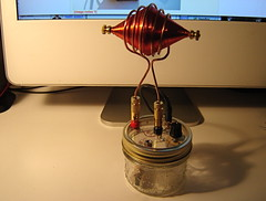 Spooky Tesla Spirit Radio with Football Antenna (MrfixitRick) Tags: radio football spirit antenna tesla
