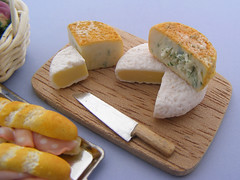 Brie and Stilton (Shay Aaron) Tags: food breakfast crust bread israel miniature flickr basket handmade aaron fake mini jewelry vegetable sandwich crispy polymerclay fimo baguette tiny faux shay earrings etsy veggie  leek turnip geekery jewel petit lunchbreak sterlingsilver   hardcheese                shayaaron wearablefood