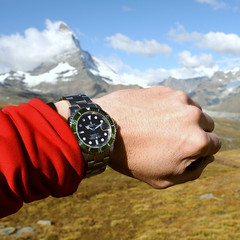 10:10 AM_time for a snack (Toni_V) Tags: red mountains alps me nature clouds landscape schweiz switzerland suisse hiking watch zermatt matterhorn alpen svizzera wallis 2009 rolex submariner valais cervin randonnée d300 cervino toniv dsc2486 090913