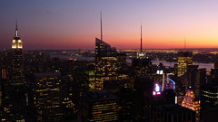Natural and Man Made Spectacular. By Ian Layzell (IANLAYZELLUK) Tags: newyorkcity light sunset sky usa sun newyork building night america skyscraper buildings lights evening us view skyscrapers manhattan views northamerica empirestatebuilding tall rockefellercentre eveningsky topoftherock sunsetting newyorksunset manhattansunset september2009 unusualviewsperspectives ianlayzell naturalandmanmadespectacular