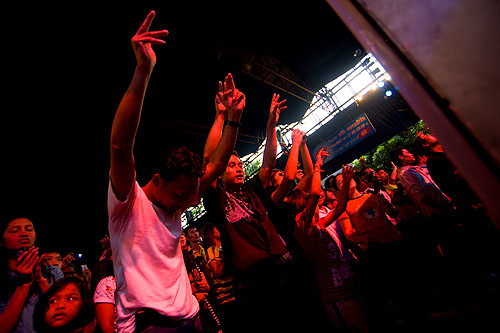 Concergoers at a look thung concert, Bangkok