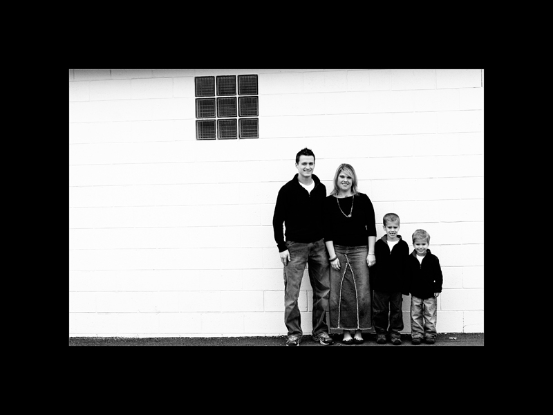 Richards family white wall bw blog