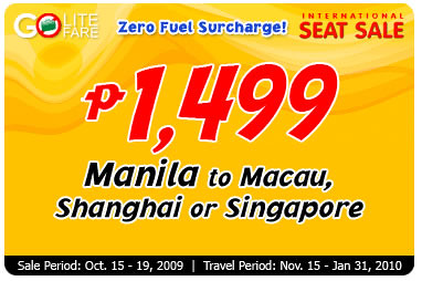 cebu pacific international seat sale 2009