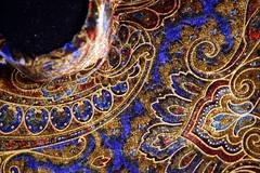 Violin Case Interior (Steve Snodgrass) Tags: blue brown gold interior case velvet violin paisley scroll