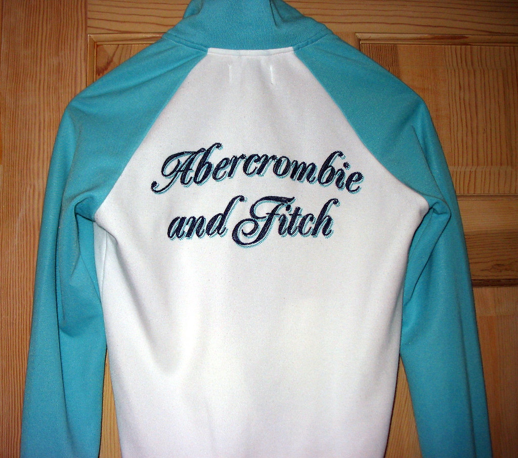 abercrombie and Fitch Size Medium Aqua Navy White Track Jacket Preowned
