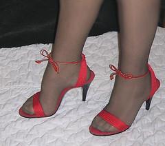 Me, black pantyhose, red high heels. (Sugarbarre2) Tags: wife mom feet shoes sandals toes long black leather hot happy nylon high heels pés nikon wedding woman mature cute macro show s granny me fetish foot lick suck