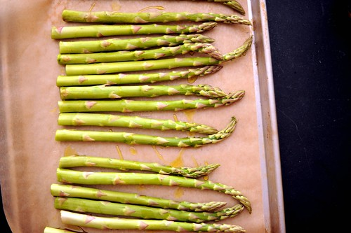 asparagus, ready for roasting