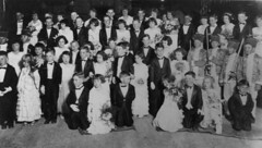 Formally dressed children attending a Junior Ball at Emerald, Queensland (State Library of Queensland, Australia) Tags: ball queensland bouquet fancydress emerald 1935 statelibraryofqueensland slq eveningfashion