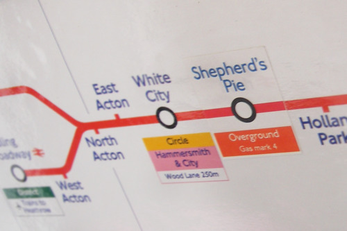Shepherd's Pie from Stickers on the Central Line