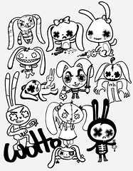 Evil Bunnies - Character Design (WOTTO*) Tags: black cute rabbit bunny bunnies illustration dark naughty dead death design blackwhite scary darkness zombie character bad knife evil cutie bones characters rabbits mischief frightening wotto