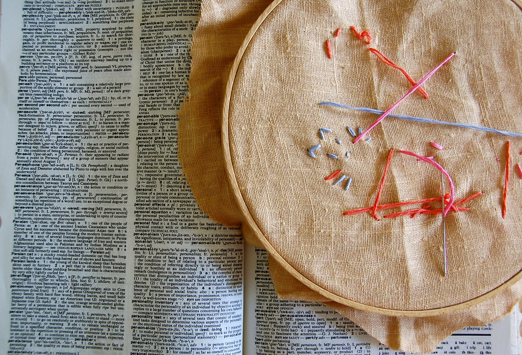 True's embroidery in progress