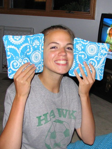 Libby models the potholders
