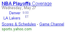 Yahoo! Search NBA Playoffs Shortcut