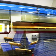 Station Loneliness (blincom) Tags: windows color reflection station train germany deutschland licht loneliness zug db deutschebahn bahn glas multicolor zge 500x500 blincom