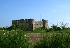 The Castle Peep (Athena's Pix) Tags: blue windows summer sky building green castle history mill grass june wales river towers historic pembrokeshire tidal carewcastle carew