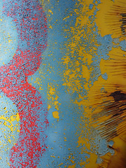 A bit of 3 (Paperbarque1) Tags: blue red abstract texture yellow rust peeling paint character bin cracks southaustralia brightcolour primarycolour portadelaide