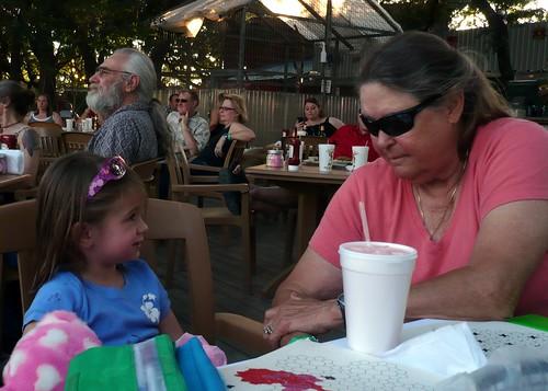 Alana gives an update to Judy Schaaf