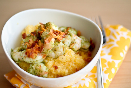 Pesto Shrimp w/Pancetta & Parmesan Polenta