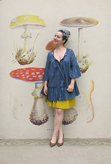 My interpretation of Happy Frida Kahlo (Elsita (Elsa Mora)) Tags: blue portrait woman selfportrait art beautiful fashion yellow paper necklace outfit artist personal top version creative remix style frida skirt blouse dresses wardrobe anthropologie hairstyle elsa kahlo interpretation mora elsita