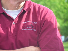 This close-up of the adult chaperone's shirt identifies his affiliation with MABC's Youth Mission 2009. MABC stands for Mississippi Avenue Baptist Church of Aurora, Colorado.