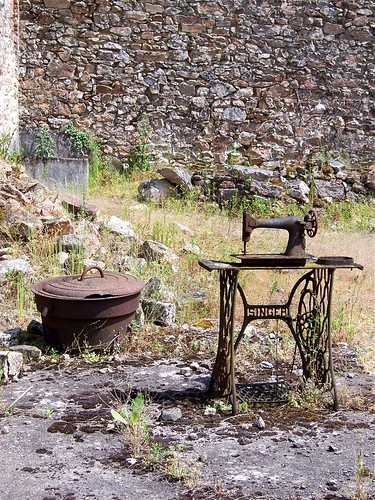 Rusted Singer sewing machine, Oradour sur Glane, Village Martyr, Centre de la Memoire