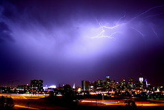 Lightning over Denver Skyline 1 (TVGuy) Tags: sky storm skyline night clouds canon denver electricity lightning denverco
