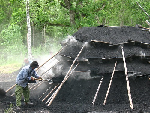 stack for making charcoal, just lit