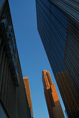 Big Apple Alpenglow (RichGreenePhotography.com) Tags: newyorkcity sky urban up lines skyscraper buildings nikon manhattan angles 6thavenue alpenglow avenueoftheamericas cloudlesssky 4421 d80 capturenx2 richgreenephotography