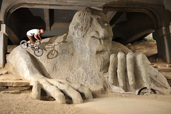 Def Paul - 180 on Fremont Troll (Sweendo) Tags: seattle magazine dark paul photo nikon bmx published contest fremont days wa troll 75 issue dig def strobist d700 rebline darkdaysphotocontest