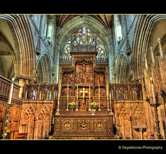 Selby Abbey Altar (Osgoldcross Photography) Tags: wood uk tower church monument abbey stone photoshop religious us raw cathedral 17thcentury yorkshire religion gothic stainedglass olympus columbia norman altar restored restoration moulding hdr northyorkshire usflag selbyabbey mouldings selby americanheritage photomatix bracketed tonemapped 5xp handheldhdr decoratedgothic olympuse420 washingtonwindow