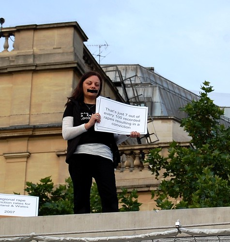 Fawcett supporter Jules on the One & Other plinth