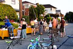 Neighbors on 12th Avenue South enjoyed the Night Out block party last Tuesday. Photo by Bridget Christian.