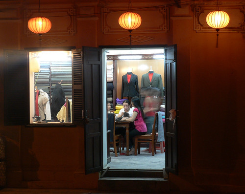 Tailor shop at night.
