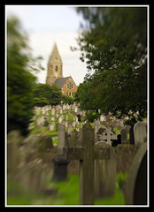 Church and Graveyard LB (veggiesosage) Tags: nottingham church cemetery graveyard lensbaby gx20 aficionados rockcemetery andyplattveggiesosage
